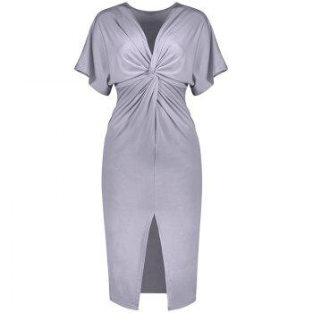 Solid Color Short Sleeve Split Ends Mini Dress - GRAY GRAY
