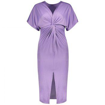 Solid Color Short Sleeve Split Ends Mini Dress - LIGHT PURPLE LIGHT PURPLE