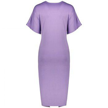 Solid Color Short Sleeve Split Ends Mini Dress - LIGHT PURPLE S