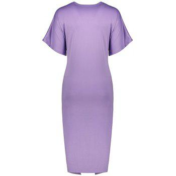 Solid Color Short Sleeve Split Ends Mini Dress - LIGHT PURPLE M