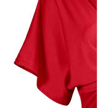 Solid Color Short Sleeve Split Ends Mini Dress - RED S