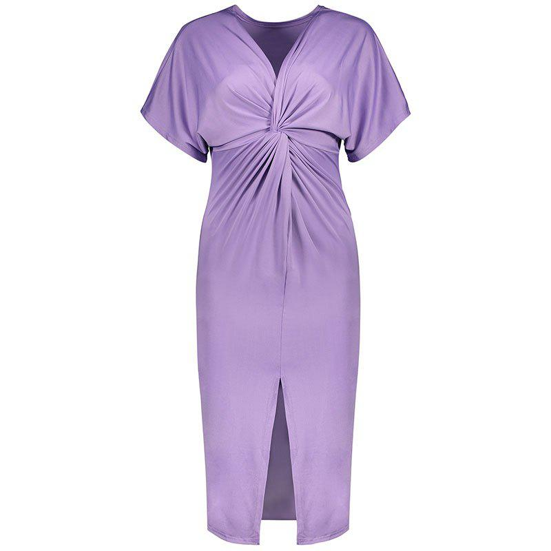 Solid Color Short Sleeve Split Ends Mini Dress - LIGHT PURPLE XL