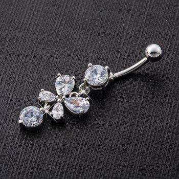 Butterfly Fluttering Exquisite Zircon Navel Ring p0078 -  SILVER