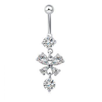 Butterfly Fluttering Exquisite Zircon Navel Ring p0078 - SILVER SILVER