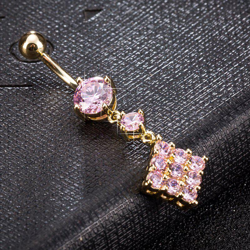 Fashion Micro Set of Exquisite Zircon Navel Ring p0081 - PINK