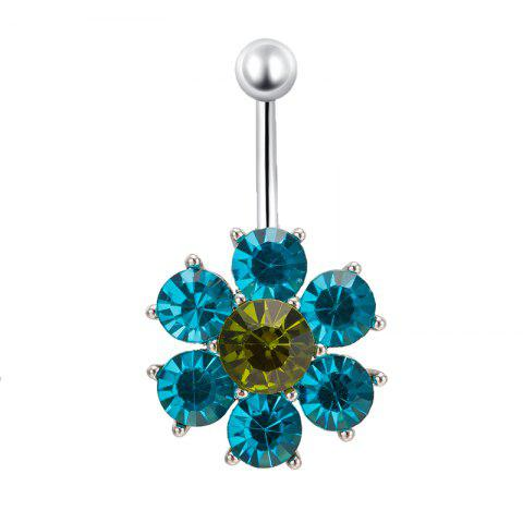 Pétales colorés exquis Zircon Navel Ring P0083 - Bleu S