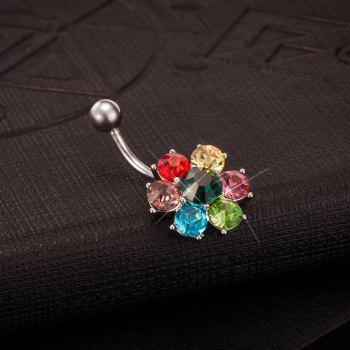 Colorful Petals Exquisite Zircon Navel Ring P0083 - COLORFUL FLOWER