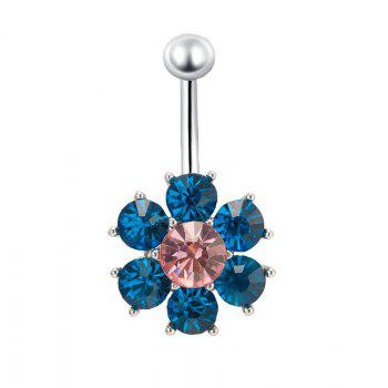 Colorful Petals Exquisite Zircon Navel Ring P0083 - BLUE BLUE