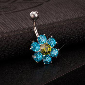 Colorful Petals Exquisite Zircon Navel Ring P0083 -  BLUES