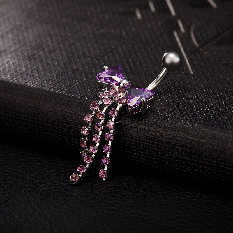 Exquisite Butterfly Bow CZ Zircon Navel Ring P0093 - PURPLE