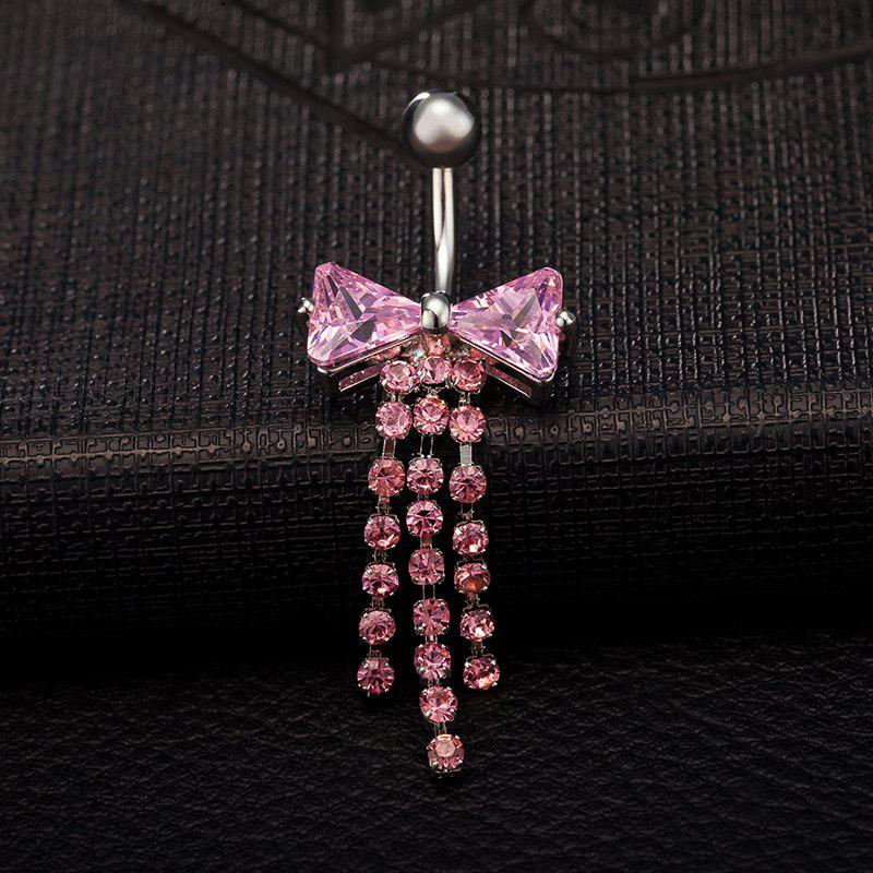 Exquisite Butterfly Bow CZ Zircon Navel Ring P0093 - PINK