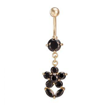 Fashion Personality Petal Exquisite Zircon Navel Ring