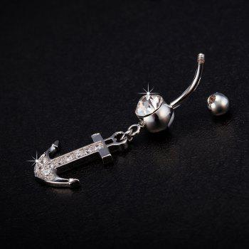 Fashion Personality Hook Exquisite Zircon Navel Ring p0113 - SILVER