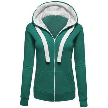 Women S Solid Color Splicing Zipper Long Sleeved Pull Rope Hooded Pocket Coat