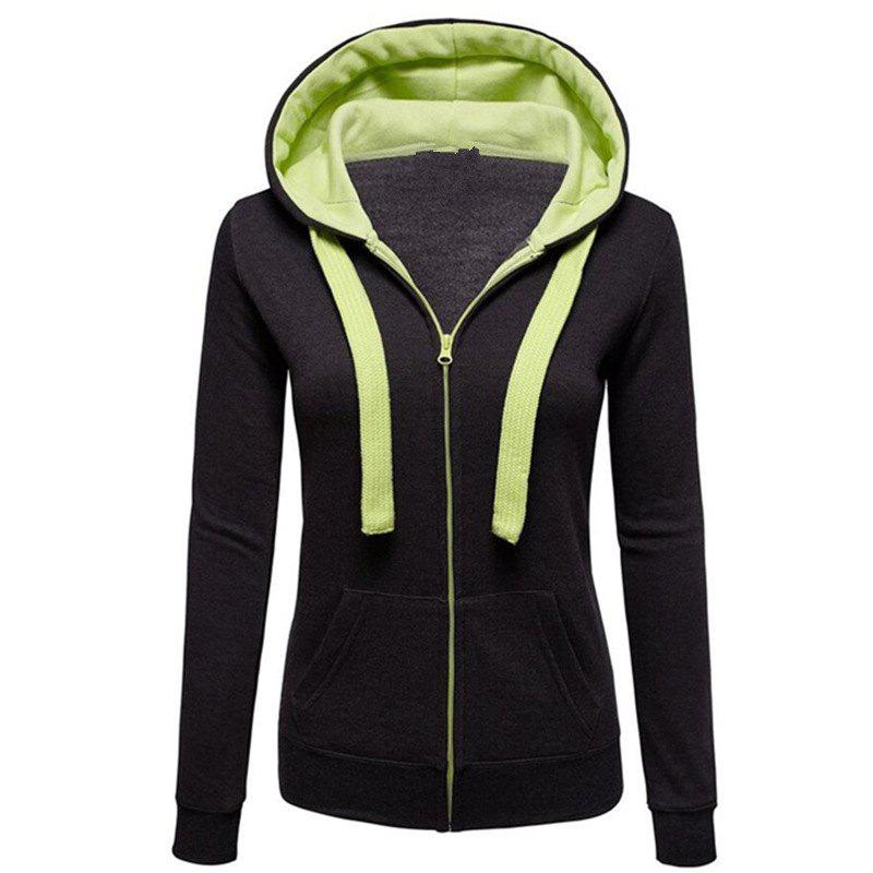все цены на Women'S Solid Color Splicing Zipper Long-Sleeved Pull Rope Hooded Pocket Coat