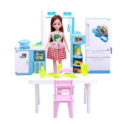 Baby Kitchen Furniture Children Cooked Food for Girls Toys Birthday Presents - COLORFUL
