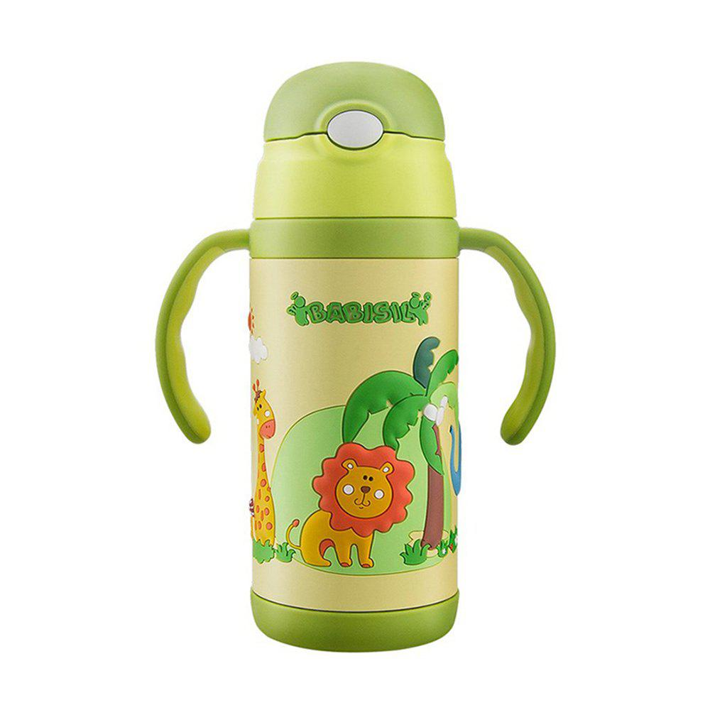 Dual straw thermos cup 350MLMY2114 - GREEN