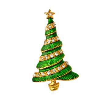 Christmas Tree Brooch Pin Christmas Gifts Jewelry - GOLDEN+GREEN GOLDEN/GREEN