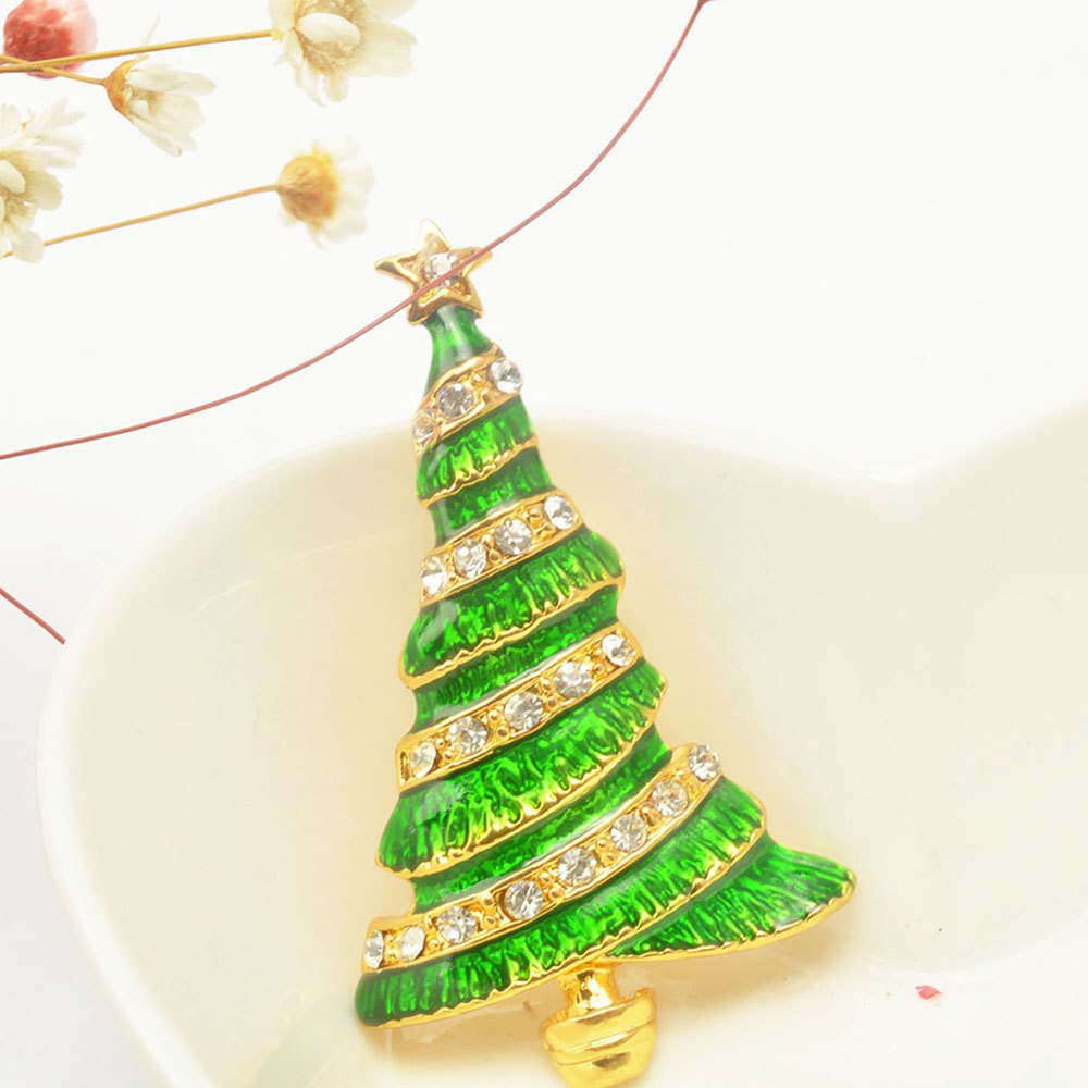 Christmas Tree Brooch Pin Christmas Gifts Jewelry - GOLDEN/GREEN
