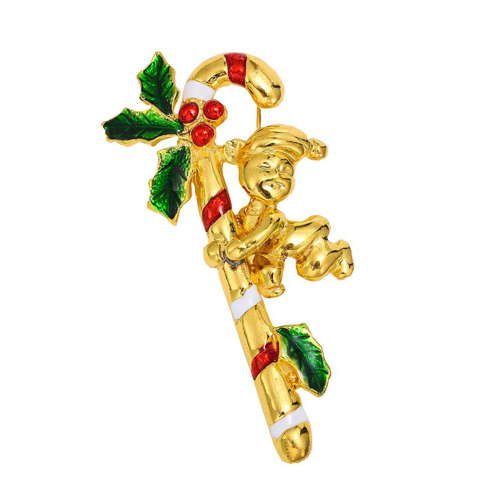 Christmas Crystal Brooches Pins Christmas Fashion Jewelryes Pins Decoration Xmas Merry Xmas Gifts - GOLDEN