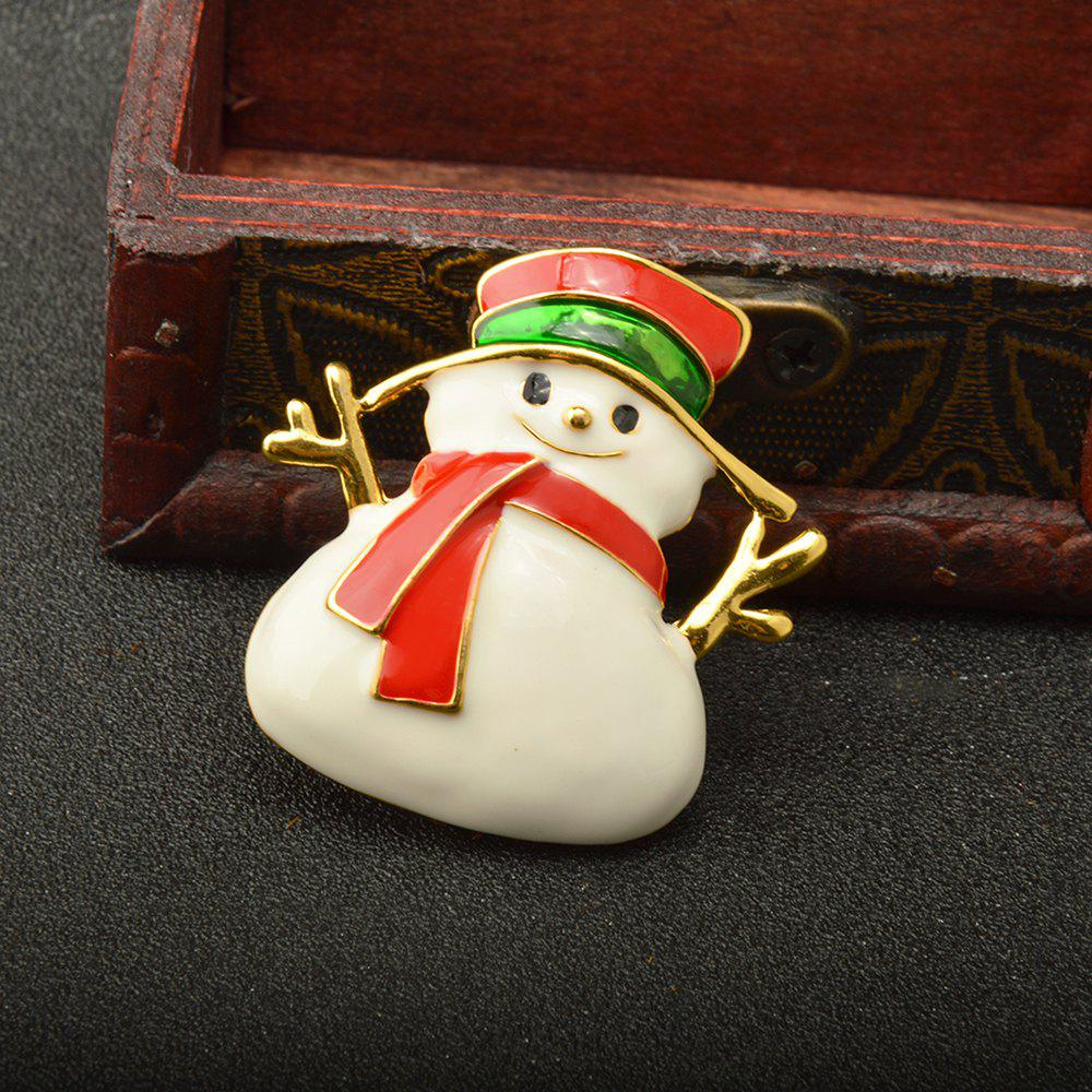 Red Enameled Snowman Brooch Pins for Christmas in Gold Color Plated - GOLD/RED