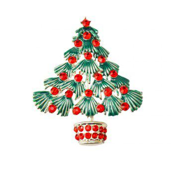 Colorful Christmas Tree Brooches New Beautiful Crystal Gold Color Brooch Pin Jewelry For Xmas Gift - SILVER SILVER