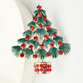 Colorful Christmas Tree Brooches New Beautiful Crystal Gold Color Brooch Pin Jewelry For Xmas Gift - SILVER