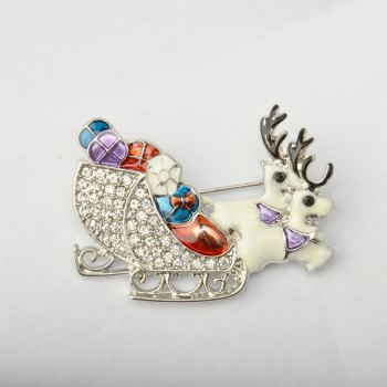 Deer Brooches Rhinestone Brooch Pins Jewelry - SILVER
