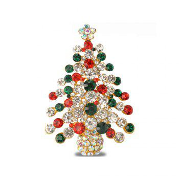 Colorful Christmas Tree Brooches New Beautiful Crystal Gold Color Brooch Pin Jewelry for Woman - COLORFUL COLORFUL