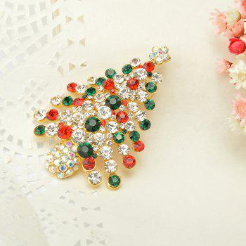 Colorful Christmas Tree Brooches New Beautiful Crystal Gold Color Brooch Pin Jewelry for Woman - COLORFUL