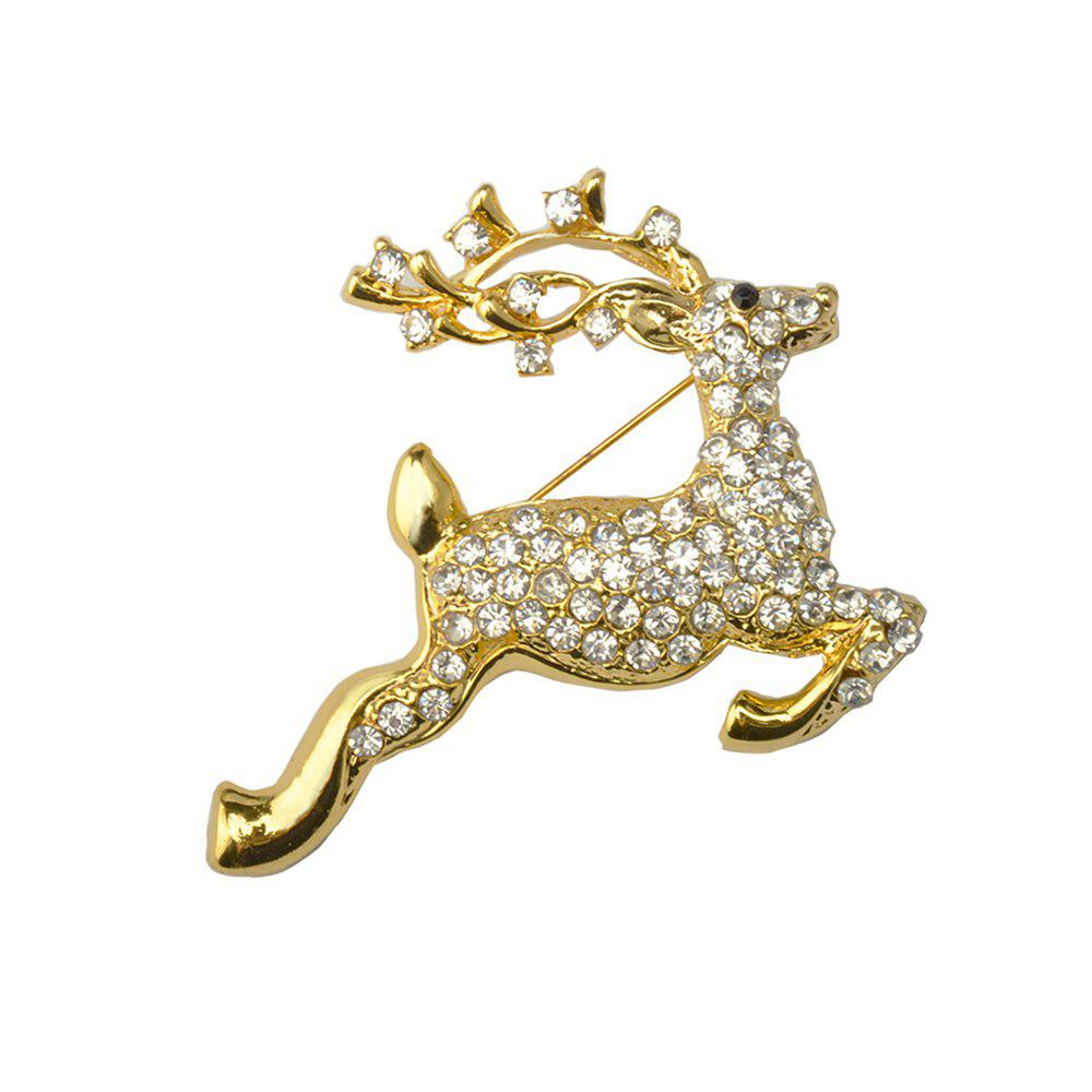 Deer Crystal Reindeer Elk Wapiti Moose Pins Brooches Gifts Christmas Brooches For Women Gifts - GOLDEN