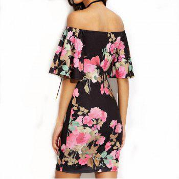 Trumpet Sleeve Dress - BLACK M