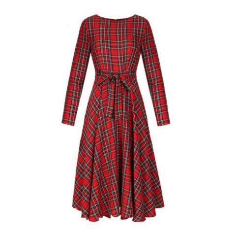 Long Sleeved Red Lattices in Long Dress - RED M