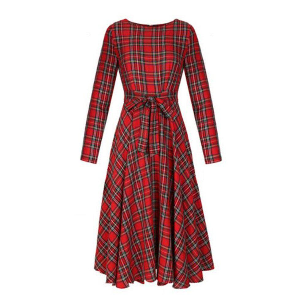 Long Sleeved Red Lattices in Long Dress - RED XL