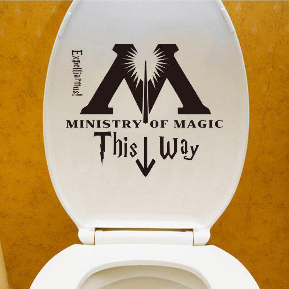 This Way Quote Wall Sticker M Arrow Toilet Sticker Washroom Sticker Home Decor - BLACK 35 X 30 CM