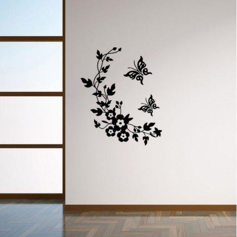 Vine Flower Vinyl Removable Wall Sticker Toilet Sticker Butterfly Floral Decals Washroom Sticker Home Decor - BLACK 28 X 34 CM