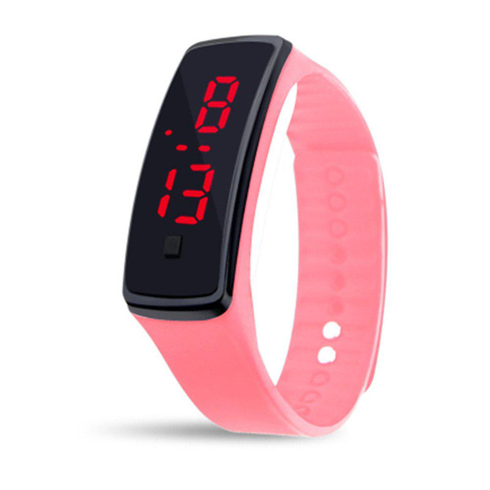 Unisex Rubber LED Watch Date Sports Bracelet Digital Wrist Watch - PINK