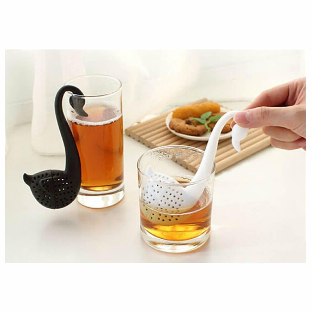 Swan Shaped Teaspoon Tea Infuser Filter Strainer silicone coffee tea infuser cute animal pug teapot spice herbal strainer filter y05 c05