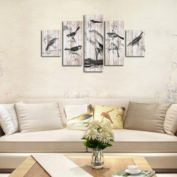 QiaoJiaHuaYuan Frameless Canvas Animal Living Room Decoration Hanging Paintings Five Pcs - COLORMIX