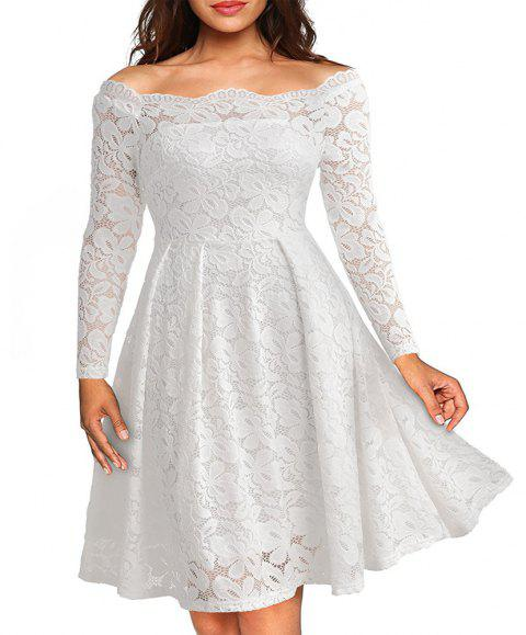 97e7412922b New Style Lace Women Off Shoulder Long Sleeve Casual Evening Party Plus Size  A-Line