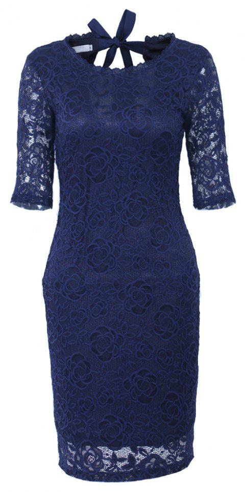 New Style Elegant Women Summer  Half Sleeve O Neck Sexy  Party Knee Length Pencil Dress - DARK BLUE S