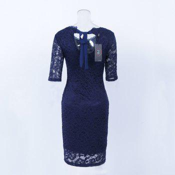 New Style Elegant Women Summer  Half Sleeve O Neck Sexy  Party Knee Length Pencil Dress - DARK BLUE DARK BLUE