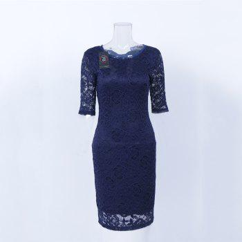 New Style Elegant Women Summer  Half Sleeve O Neck Sexy  Party Knee Length Pencil Dress - DARK BLUE XL