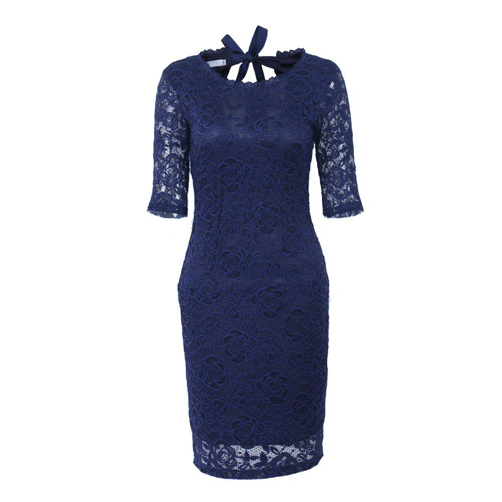 New Style Elegant Women Summer  Half Sleeve O Neck Sexy  Party Knee Length Pencil Dress - DARK BLUE 2XL