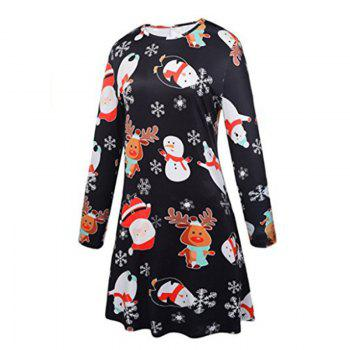 Women's Fashion Snowman Santa Claus Print Dress - BLACK XL
