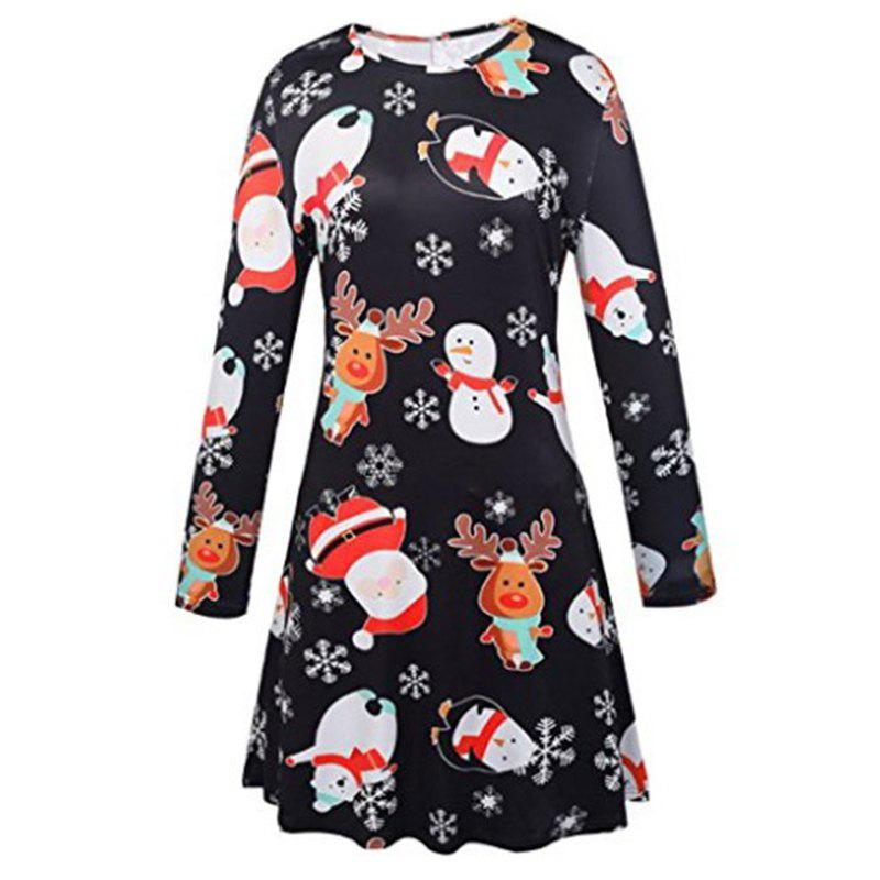 Women's Fashion Snowman Santa Claus Print Dress - BLACK L
