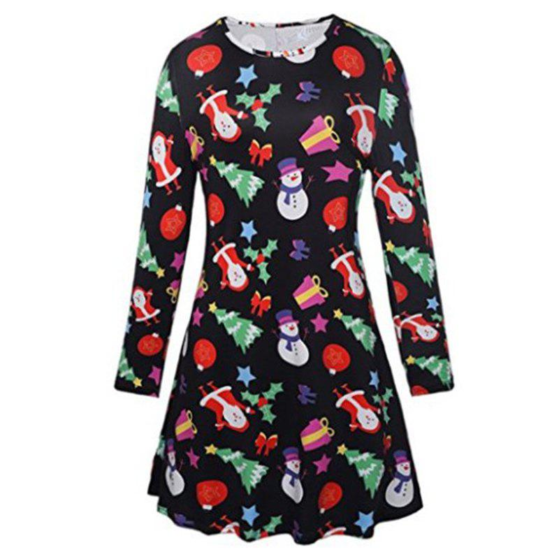 Women's Fashionable Round Neck Christmas Santa Claus Print Dress - BLACK S