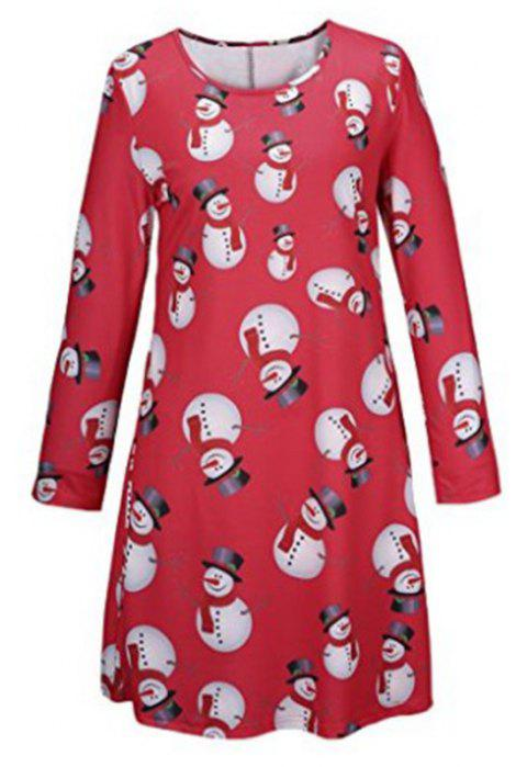 Women's Fashion Christmas Snowman Printing Long-Sleeved Dress - RED L