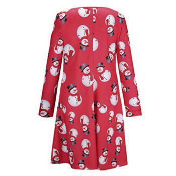 Women's Fashion Christmas Snowman Printing Long-Sleeved Dress - RED S