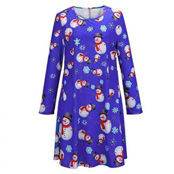 Women's Fashion Christmas Snowman Printing Long-Sleeved Dress - BLUE BLUE
